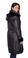 Womens Black Warm Quilted Hooded Winter Coat db5002